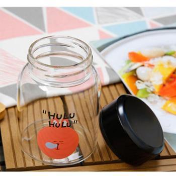 创意玻璃杯便携可爱学生耐热家用水杯女男随手杯韩国带盖茶杯杯子