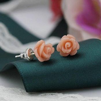 红色玫瑰花·*耳钉 女气质耳环韩国韩版简约百搭养耳洞耳饰