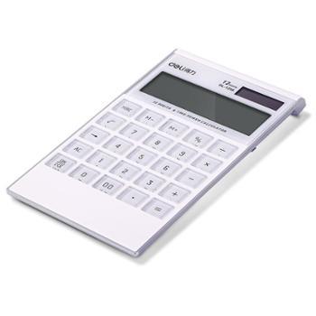 得力财务计算器12位太阳能电池双电源超薄透明耐磨按键计算机1256一个