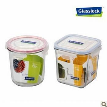韩国glasslock三光云彩钢化玻璃 保鲜盒 2件套