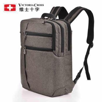维士十字双肩包男韩版休闲学生书包男士15.6寸商务电脑包旅行背包VC3008-LE6904