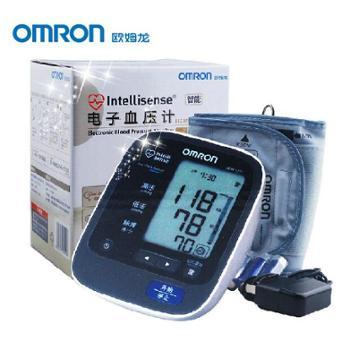 欧姆龙HEM-7211日本原装上臂式电子血压计全自动家用心律不齐显示智能加压DualCheck双传感器自检测量更精带AC电源