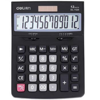 得力(deli)1520A经典商务办公桌面太阳能双电源计算器