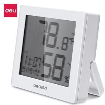 得力(deli)多功能电子温湿度计带时间闹钟温湿度显示8813