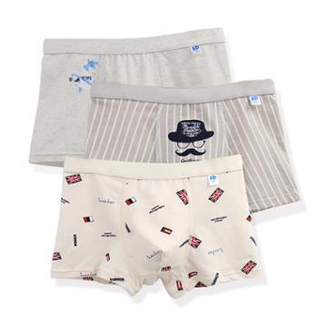 友丫男大童纯棉内裤裆青少年平角短裤(3条装)XJD-7301
