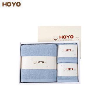 HOYO臻品长绒棉毛浴三件套 和风腾纹礼盒毛巾*2+浴巾*1 1100g 颜色随机 7294