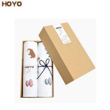 HOYO布艺印河马毛巾两件套 樱花礼盒毛巾2条装 95g 7357