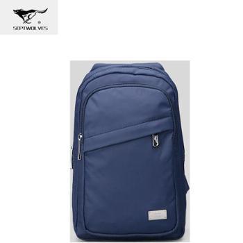 七匹狼牛津布韩版胸包蓝色B0802054-108