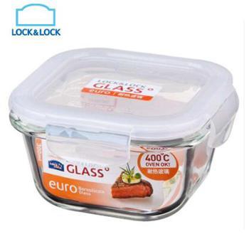乐扣乐扣格拉斯密封方形耐热玻璃保鲜盒便当盒300MLLLG205