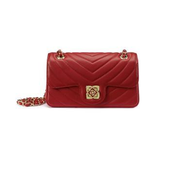 皮尔卡丹 合成革女包链子包 红色 W9C256011-75C