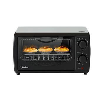 美的 上下双发热管双层易清洁内胆电烤箱 黑色 PT1011 10L 700W