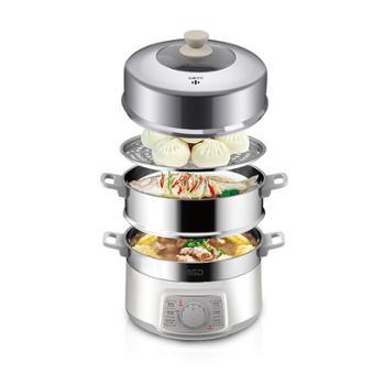爱仕达/ASD 家用三层防串味电煮锅 不锈钢蒸笼 AZ-Y28J105 10L大容量