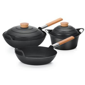 都市太太外婆家三件套烹饪锅具套装32cm炒/24cm汤/24cm煎