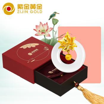 紫金黄金(ZiJin)幸福女人绽蕊函香足金镶玉项链吊坠