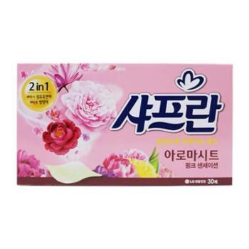 韩国进口LG柔顺剂洗衣柔顺纸花香清香型洗衣纸30片单盒