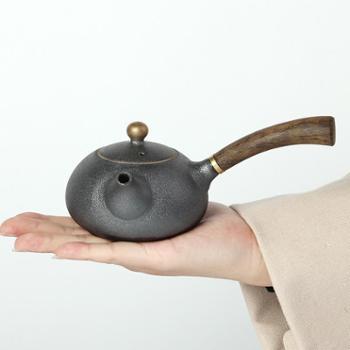 陶立方德化汝窑开片侧把壶黑檀木握手柄功夫茶具配件煮水壶泡茶壶金刚沙釉