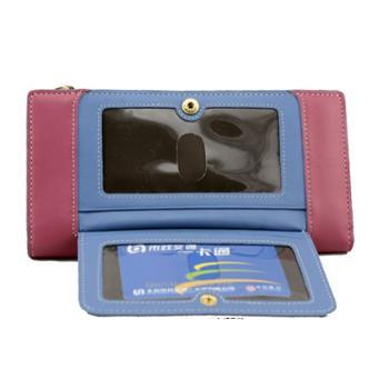尼诺里拉NINORIVA桃红色牛皮革女士长款钱夹NR60201-1