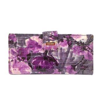 尼诺里拉NINORIVA紫色时尚印花牛皮长款钱夹NR60294-1