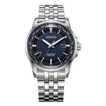 西铁城CITIZEN光动能手表万年历蓝盘钢表带时尚男表BX1001-89L