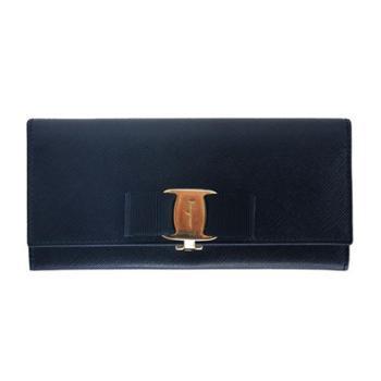 菲拉格慕Ferragamo女士藏蓝色十字纹牛皮长款钱夹22B559560813
