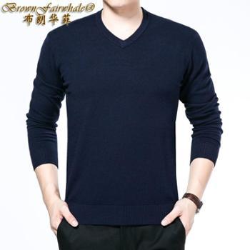 布朗华菲/BrownFairwhale男士毛衣圆领针织衫羊毛衫V领鸡心领纯色毛衫587