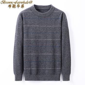 布朗华菲/BrownFairwhale男士长袖毛衣100%羊毛圆领条纹针织衫9211