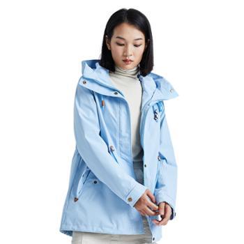 杜戛地女士冲锋衣三合一两件套户外中长款外套