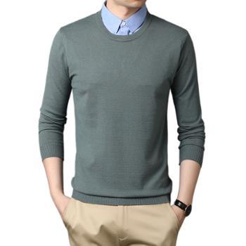 布朗华菲/BrownFairwhale男士长袖毛衣衬衫领假两件针织衫3372.5