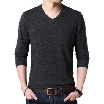 布朗华菲/BrownFairwhale男士纯色毛衣V领鸡心领100%纯羊毛针织衫8205
