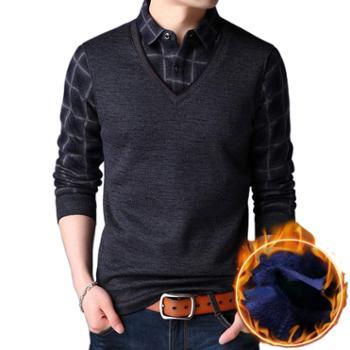 布朗华菲/BrownFairwhale男士长袖毛衣加绒加厚假两件套头羊毛针织衫2278