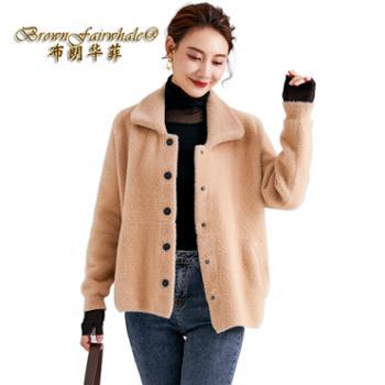 布朗华菲/BrownFairwhale女士外套加厚短款方领仿貂绒外搭开衫9001