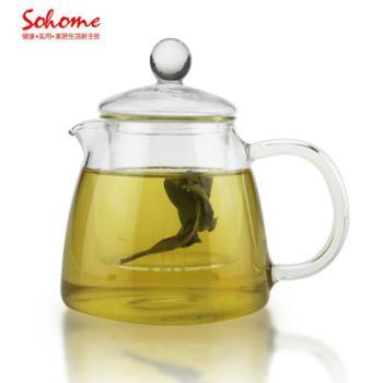 SOHOME 耐热玻璃花草茶壶 茶具过滤耐热泡花草茶壶420ml