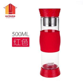 sohome创意耐热玻璃水杯男女士带盖不锈钢过滤茶杯茶水分离泡茶杯