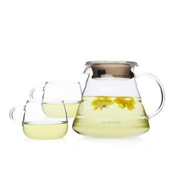 sohome 云朵花茶壶三件套 耐热玻璃茶壶泡茶壶花茶壶咖啡壶套装