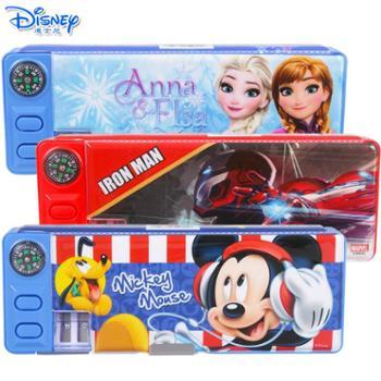 迪士尼儿童小学生带指南针削笔刀双面铅笔盒