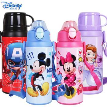 迪士尼儿童500ML双杯盖不锈钢保温吸管直饮杯HM3208