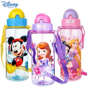 迪士尼儿童卡通510ML塑料吸管水杯