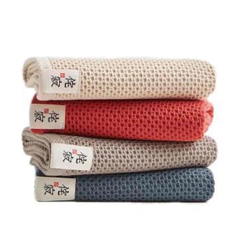 三利诧寂纯棉蜂窝棉面巾4条混色装JS813-4