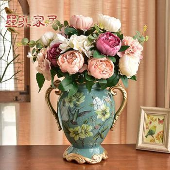 墨菲欧式双耳陶瓷花瓶 摆件客厅复古创意美式仿真干花插花大花器