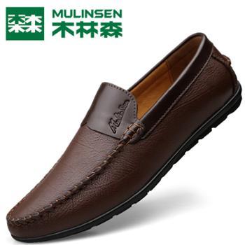 木林森男士春秋休闲牛皮懒人豆豆鞋