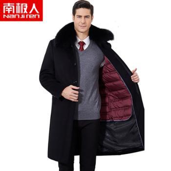 南极人男中年老年羊毛呢大衣冬季中长款加厚