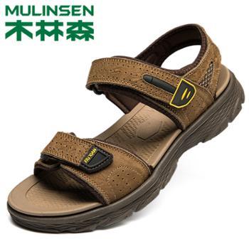 木林森真皮外穿沙滩鞋防滑轻便男士凉鞋