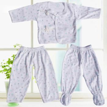 新生宝宝竹纤维绑带开裆三件套宝宝和尚衫婴儿系带服