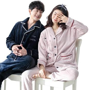 青年里冬季新款男女睡衣情侣睡衣韩版法兰绒加厚保暖睡衣