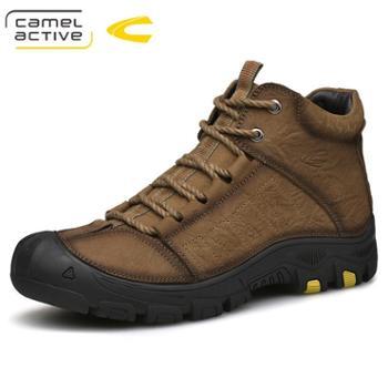骆驼动感男靴子高帮加绒防滑户外靴男牛皮短靴冬保暖棉靴18181