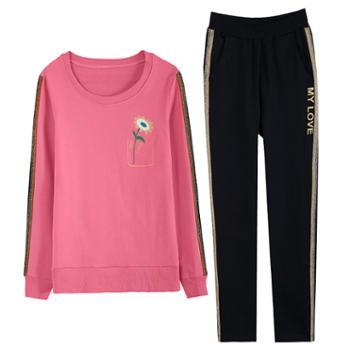 凯仕达休闲运动套装时尚休闲韩版长袖卫衣两件套跑步服