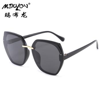 玛布龙女士金属太阳眼镜个性方框时尚百搭遮阳墨镜3228