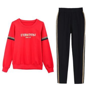 凯仕达韩版时尚运动休闲修身显瘦跑步大码女士两件套