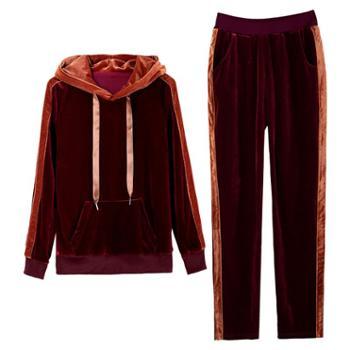 凯仕达韩版运动金丝绒时尚卫衣女装两件套