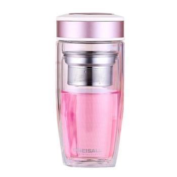 谁美 双层玻璃杯便携水杯不保温随手不防摔过滤杯子女玻璃隔热泡茶杯gy
